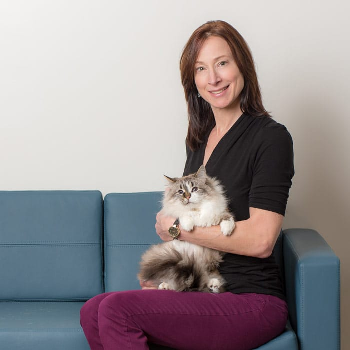 Dr. Dianne Saladino On A Blue Couch With Her Cat